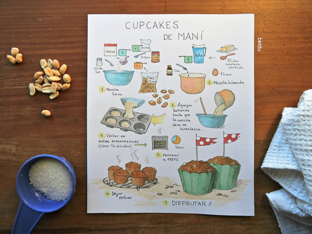 Peanut Cupcakes original watercolor - illustrated by betitu