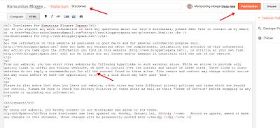 Cara Memasang laman Disclaimer di Blog