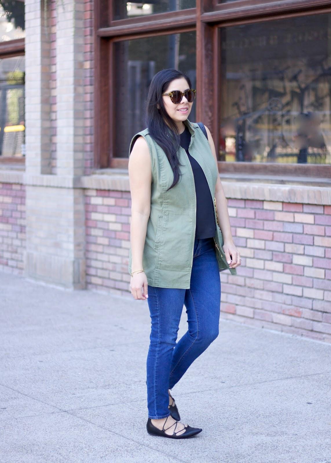 Utility Vest Outfit, cargo vest women attire, san diego fashion blogger, san diego style blogger, cabi explorer vest