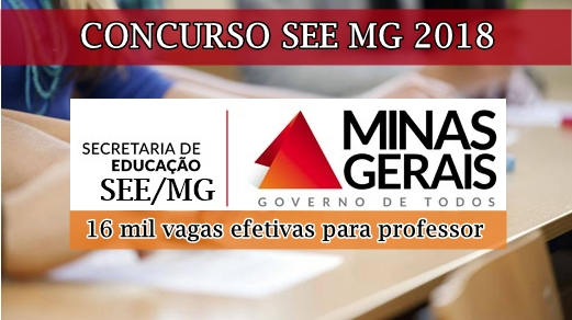 edital concurso SEE MG 2018
