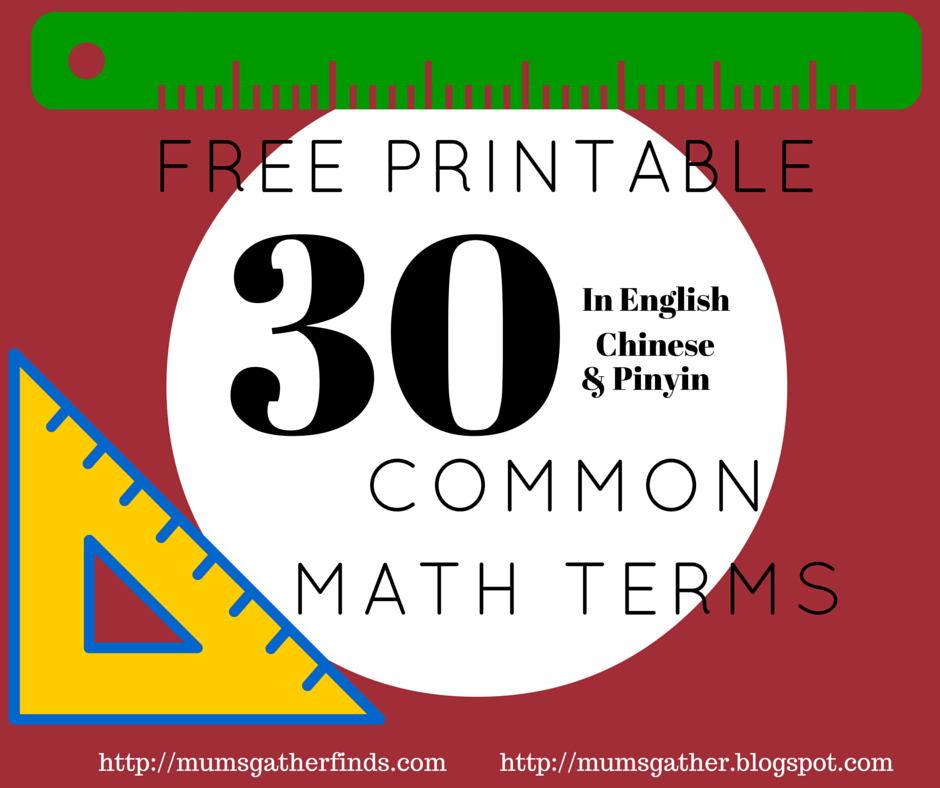 30 Commonly Used Math Terms For Kids Bilingual English and