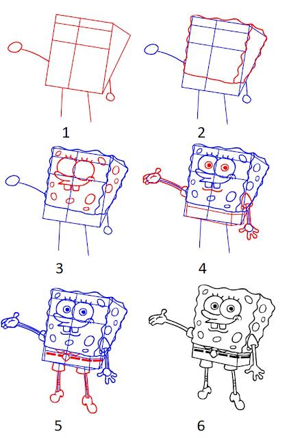 Cara menggambar SpongeBob SquarePants