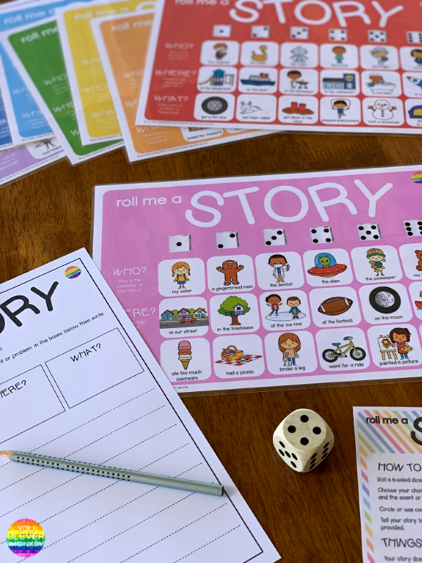 Roll Me A Story Writing Center | you clever monkey