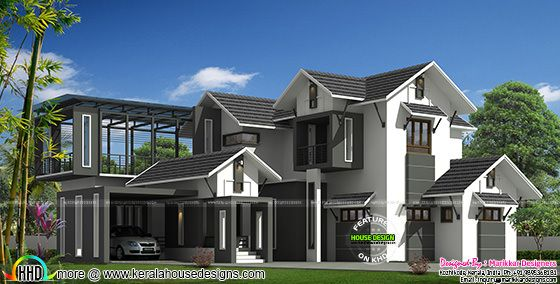 2900 sq-ft modern sloped roof house