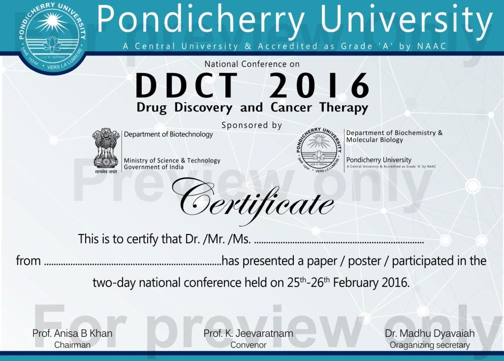 certificates for national seminar pondicherry university 8 5 pixels