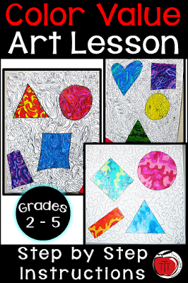 color value art lesson focusing on 2-D shapes and line art Terri's Teaching Treasures