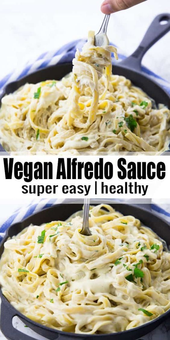 This vegan Alfredo sauce is the perfect comfort food! It's so incredibly creamy and rich without being packed with butter and cream! It makes such a great vegan dinner! Vegan comfort food at its best! More vegan pasta recipes at veganheaven.org! #vegan #veganpastarecipes #Alfredo