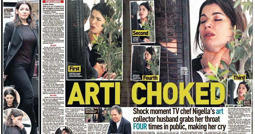 Food celebrity choked by husband