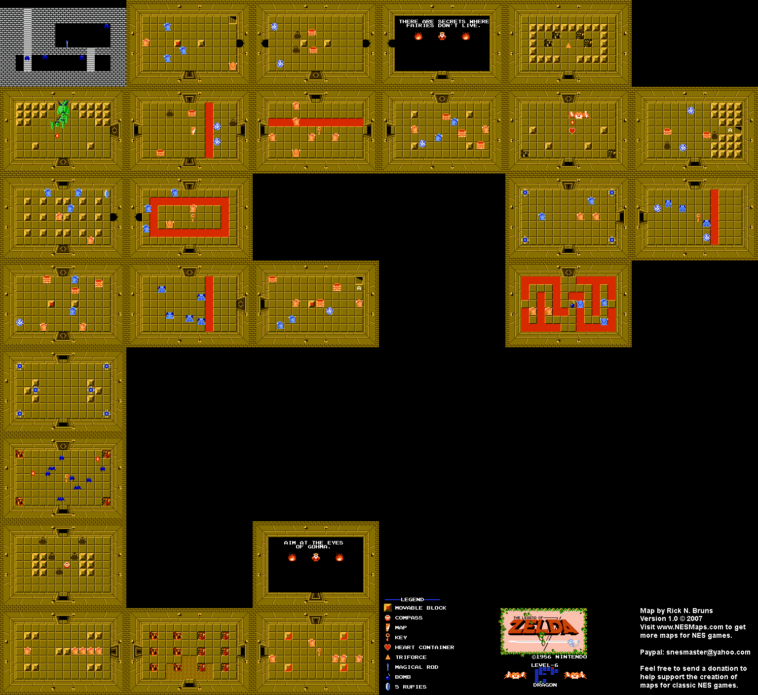 It is an image of Clean Legend of Zelda Nes Map Labeled