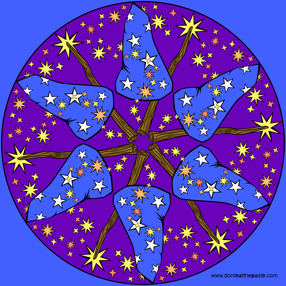 Wizard mandala with a blank version to color