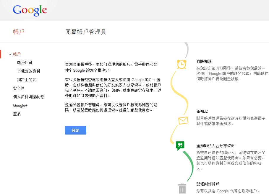Google 新服務:閒置帳戶管理員 - 讓兒女繼承你的帳號!