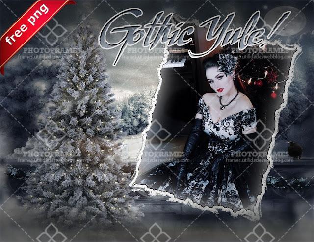 Marco para fotos navideño al estilo gótico - gothic christmas frame