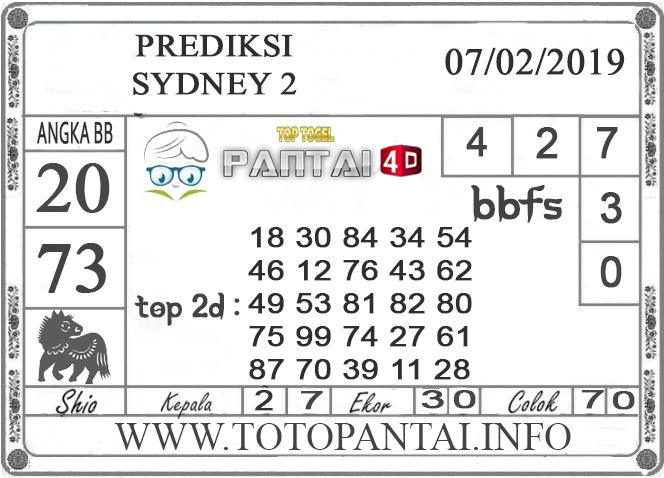 """Prediksi Togel """"SYDNEY 2"""" PANTAI4D 07 FEBRUARI 2019"""