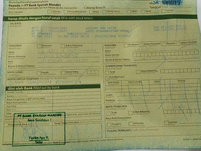 Bukti transfer donasi untuk muslim Rohingya ke Lazismu Pusat