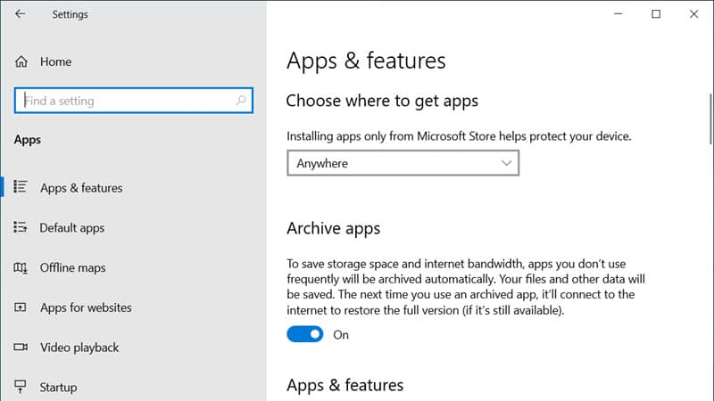 Windows 10 will allow you to automatically archive apps that you don't use frequently