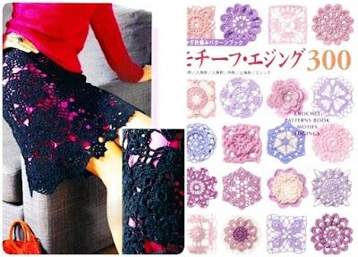 Falda Negra con Círculos de Flores de Crochet