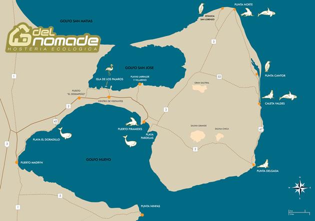 Mapa de Península Valdés Hostería Ecológica