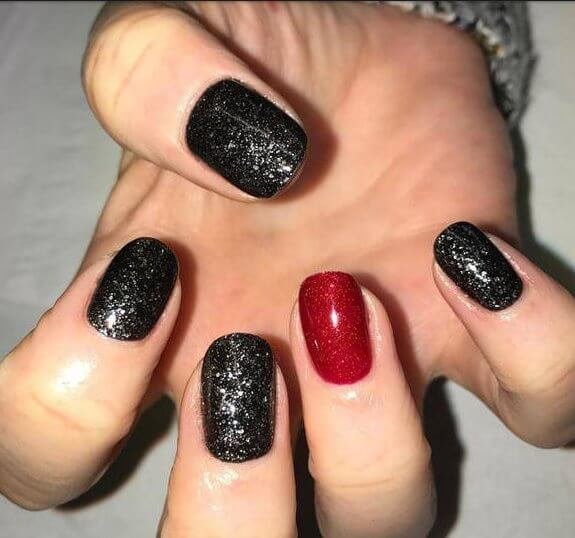 mix ,Shellac, Glitter, Nails