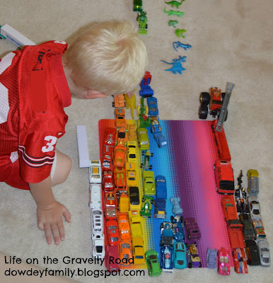 color sorting and counting activity using toy cars