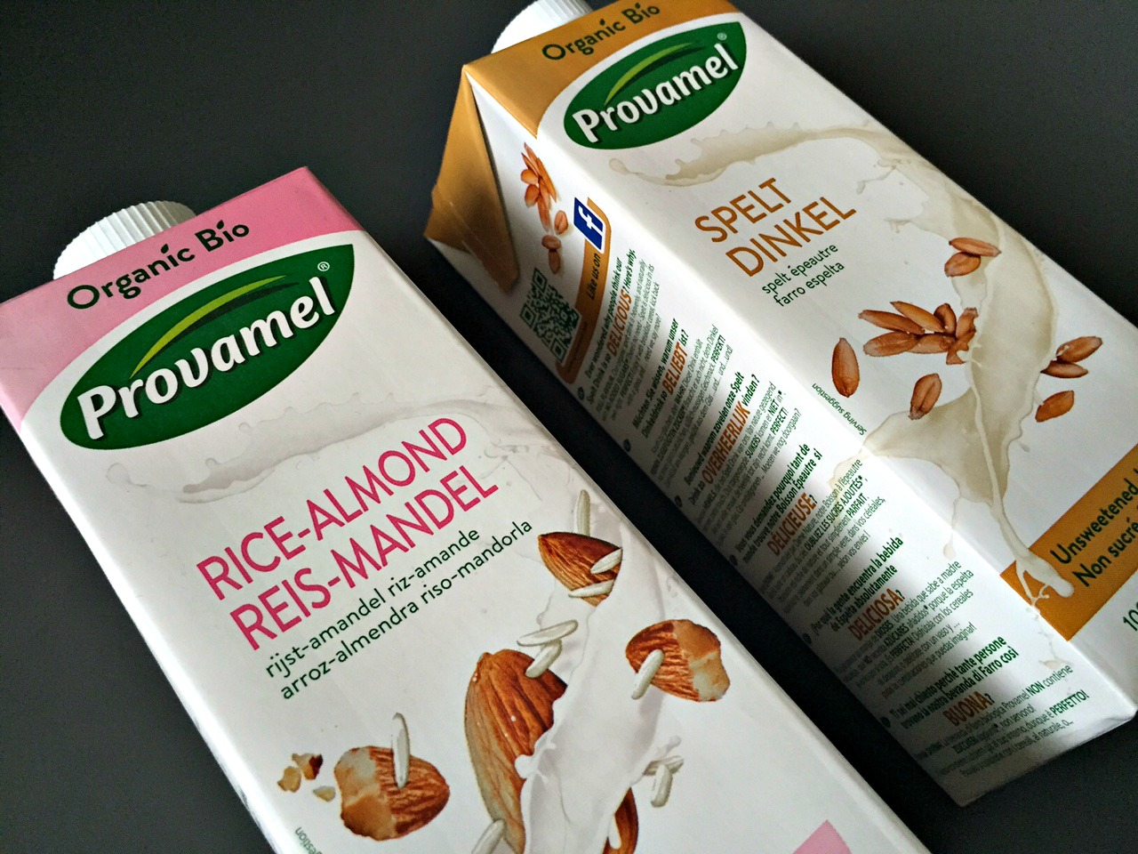 Provamel Rice-Almond drink and Spelt drink
