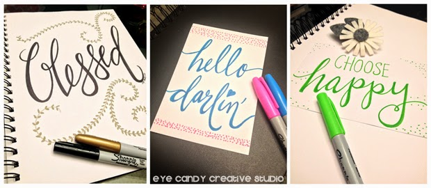 30 day challenge, blessed, art prints, hand lettering, hello darlin, choose happy