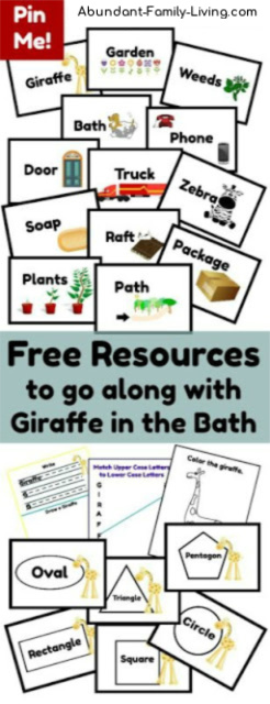 Free Printables to Accompany Giraffe in the Bath