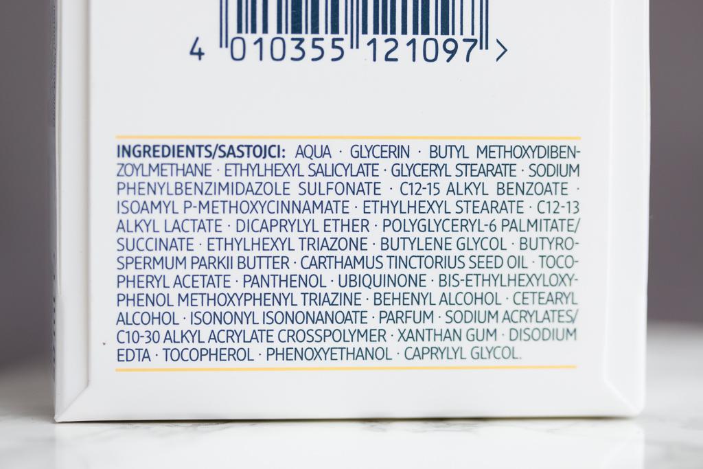 Sonnenschutzcreme chemisch Balea Q10 Anti-Falten Schuetzende Tagescreme LSF 30 Rueckansicht Inhaltsstoffe