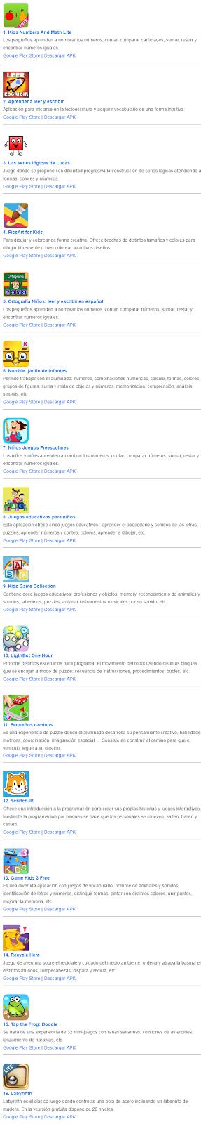 16/32 apps para educación infantil