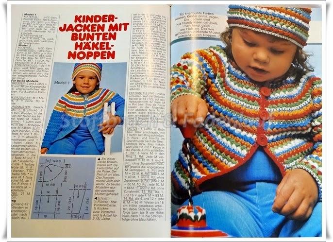 Stoffbruch Fadenlauf Kinderjacken Mit Bunten Häkelnoppen