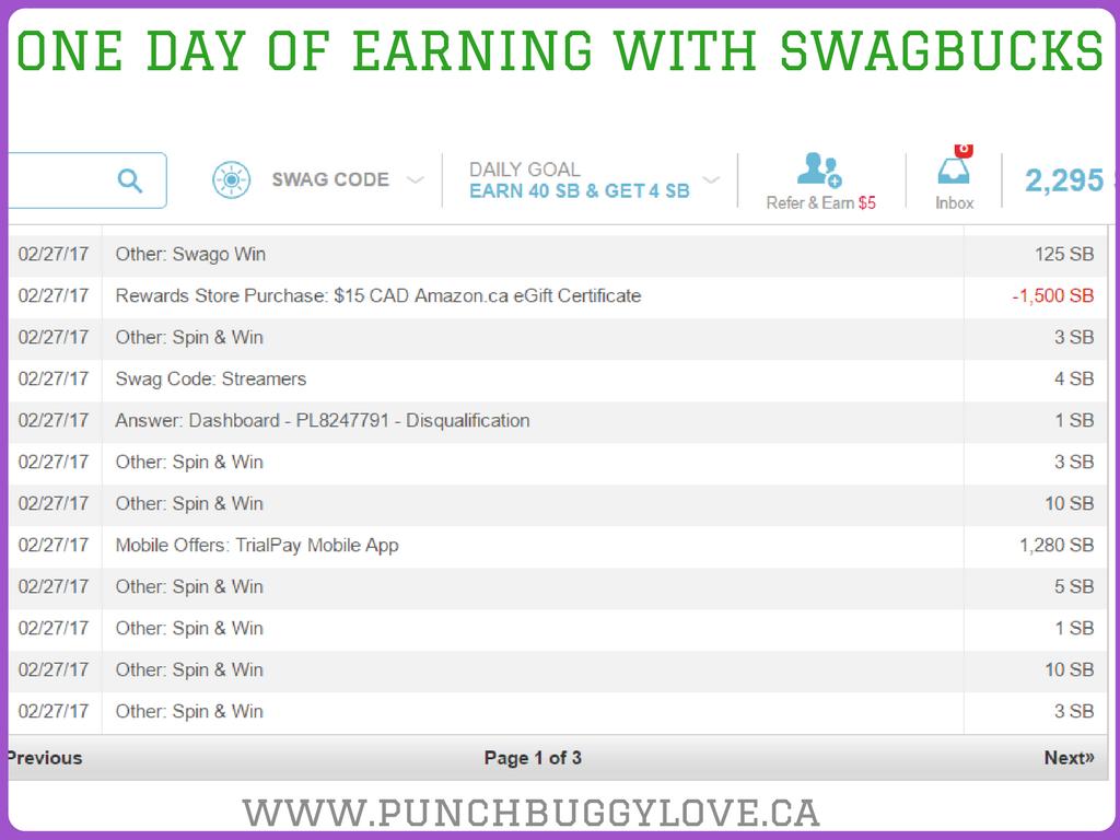 Money made with swagbucks