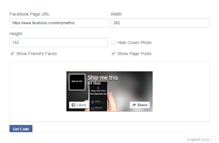 FB developers Page plugin page
