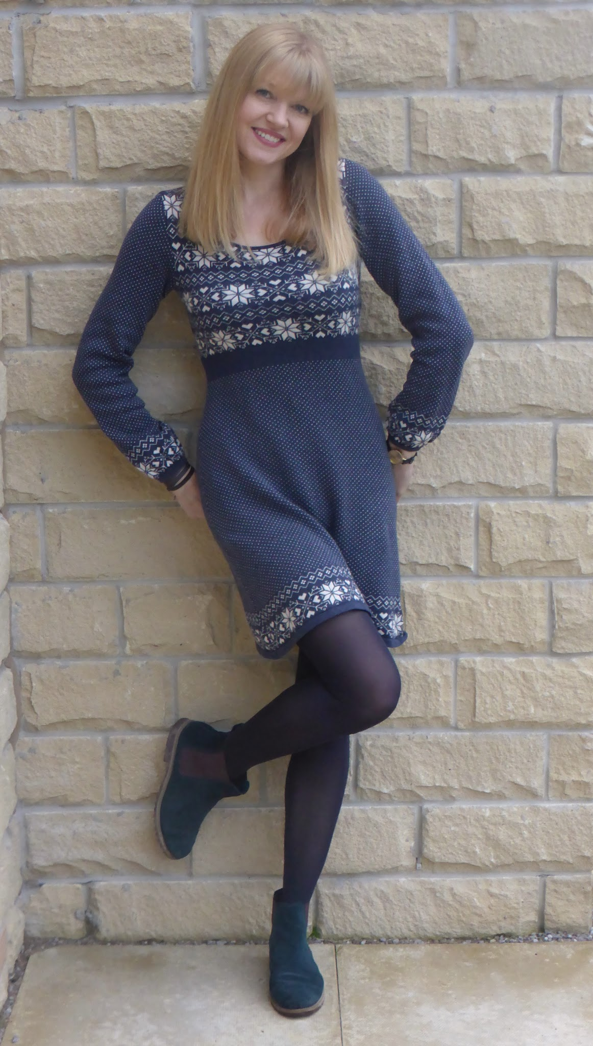 outfit fairisle dress and chelsea boots  what lizzy loves