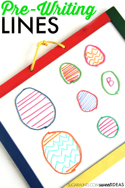 Work on pre-writing lines needed for neat handwriting and letter formation with this wikki stix Easter egg (or any time of the year!) pre-writing and pencil control practice activity.