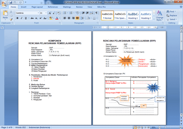 Format RPP K13 Kurikulum 2013 Revisi 2018 untuk SMP MTs