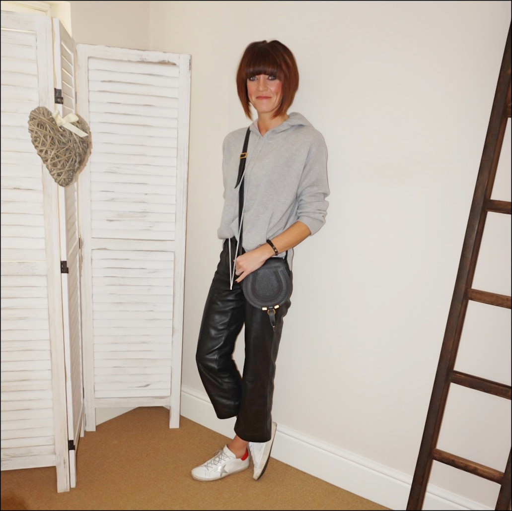 my midlife fashion, marks and spencer pure cashmere hooded jumper, marks and spencer straight leg leather trousers, chloe marcie small cross body bag, golden goose superstar low top leather trainers
