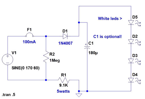 120 volt 4 led light circuit  circuit schematic
