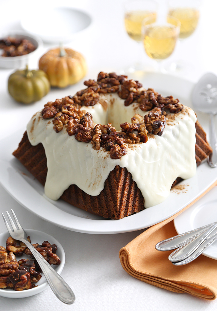 Pumpkin Cream Cheese Bundt Cake with Spiced Candied Walnuts