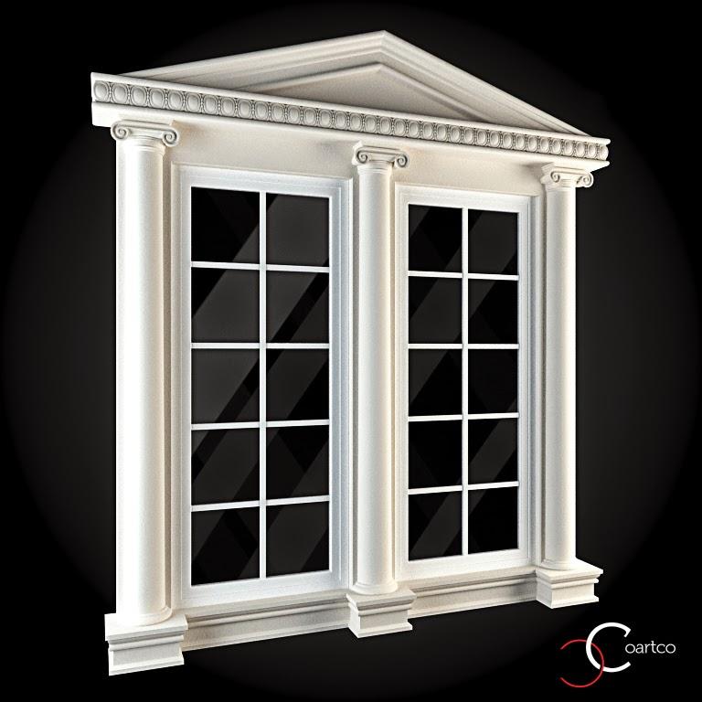 Ornamente Geamuri Exterior, Coloane Decorative,  fatade case cu profile decorative polistiren, profile fatada,  Model Cod: WIN-069