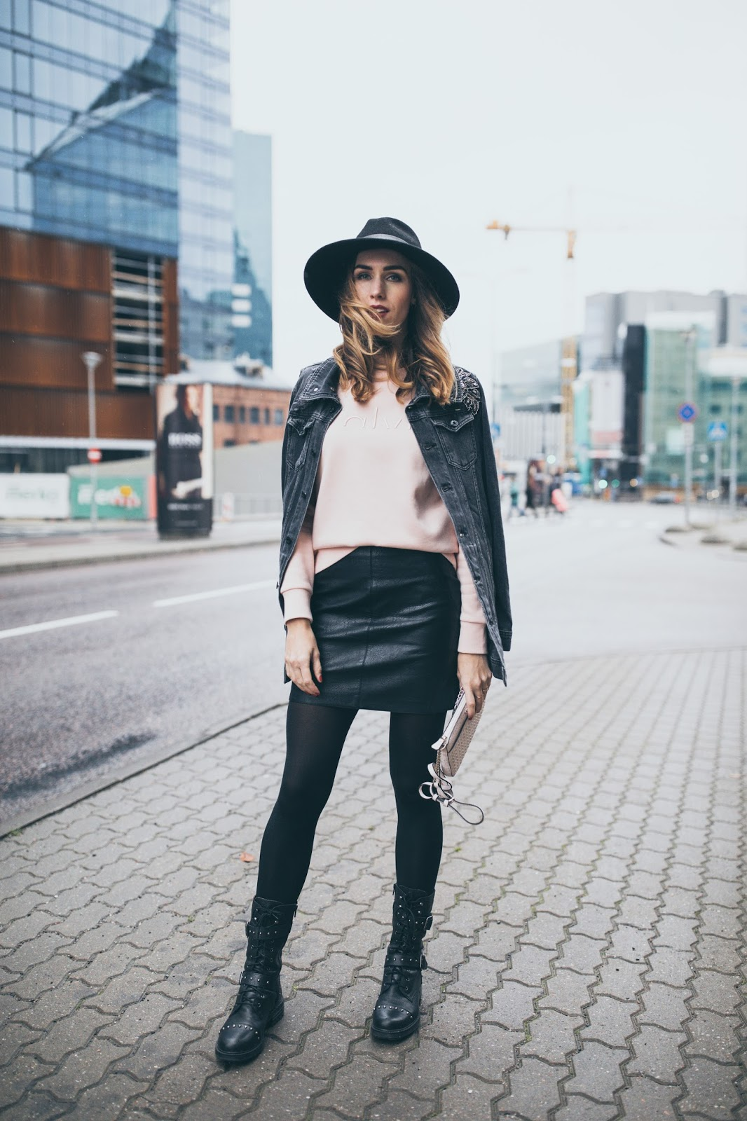 sweatshirt leather skirt outfit fall