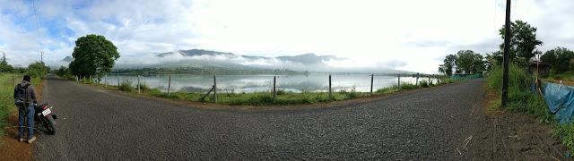 panorama shot of the beautiful scenery on the way to Pawana dam