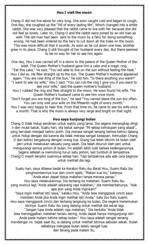 Cerita Legenda Bulan dan Matahari dalam Bahasa Inggris