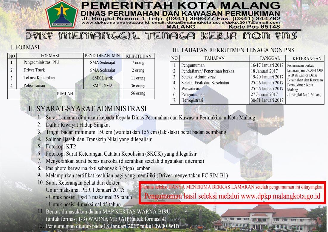 Penerimaan Pegawai Non PNS DKP Kota Malang Jawa Timur