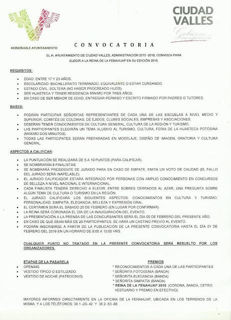 convocatoria reina fenahuap 2016