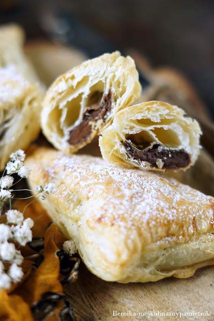 ciasto francuskie, nutella, czekolada, deser, bernika, kulinarny pamietnik