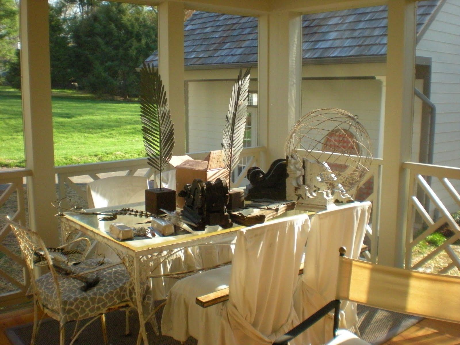 All About Vignettes: In Between Screened Porch Decor