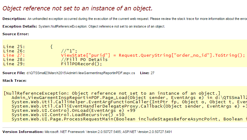Object Reference not set to an Instance of an Object in asp net