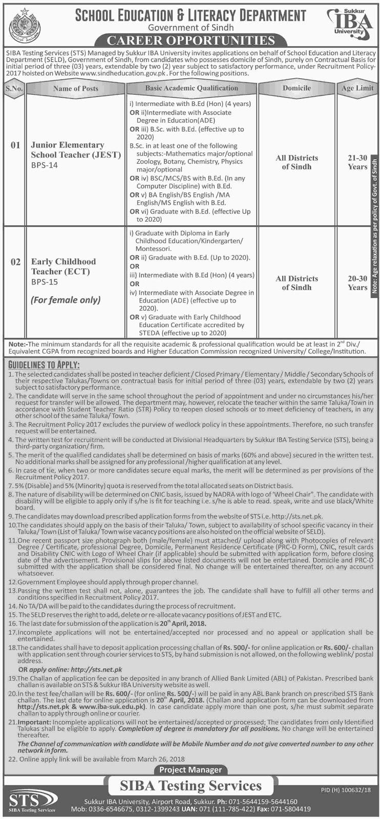 School Education Department Sindh Jobs 2018