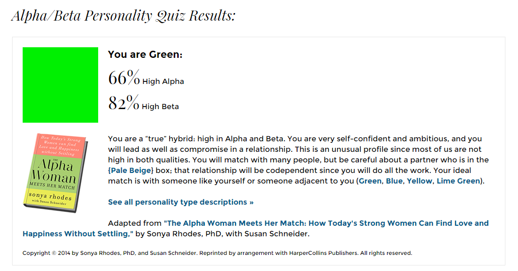 Alpha and beta personality types