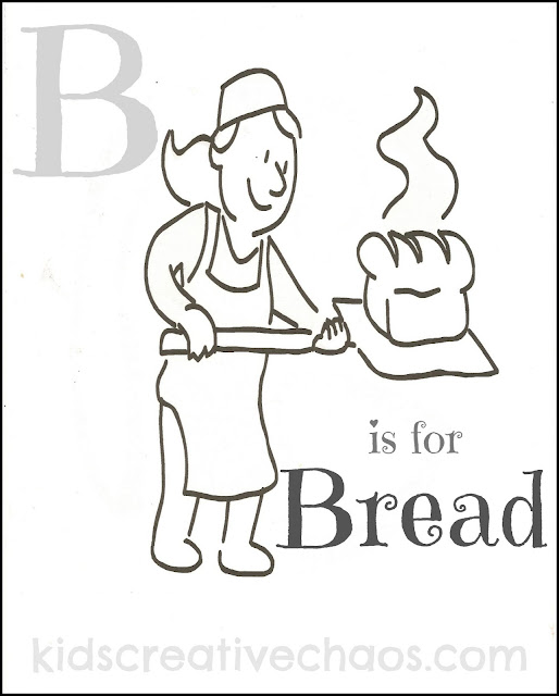 Alphabet Coloring pages for preschool kids letter B bread