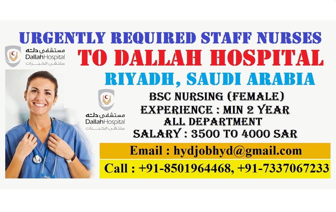 Urgently Required Staff Nurses to DALLAH Hospital Riyadh, Saudi Arabia